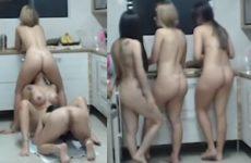 3 Gostosas na CasaHot se chupando ao vivo na cozinha